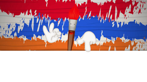 Funny paint brush cartoon illustration painting art artist, Stock Animation