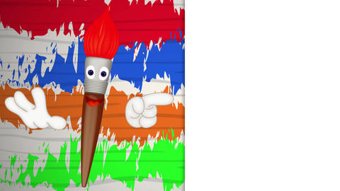 Funny paint brush cartoon illustration painting art artist Animation