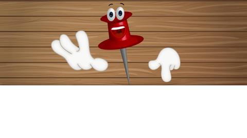 Funny corkboard pin cartoon illustration Archivo