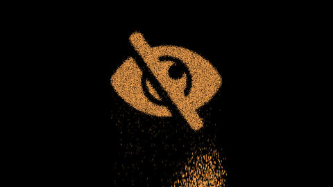 Symbol eye slash appears from crumbling sand. Then crumbles down. Alpha channel Premultiplied - Animation