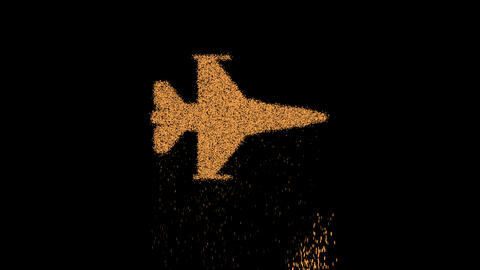 Symbol fighter jet appears from crumbling sand. Then crumbles down. Alpha channel Premultiplied - Animation