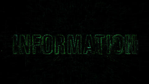 """3D animation data digital code with """"Information"""" text Footage"""
