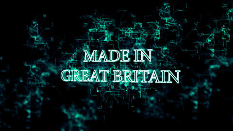 """Rotating digital network with """"Made in Great Britain"""" text Live Action"""