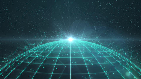 Rotating wireframe globe with plexus network and stars Animation