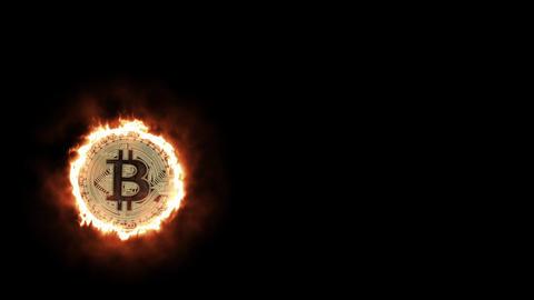 ビットコインが炎上するイメージCG CG動画素材