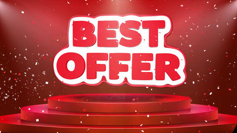 Best Offer Text Animation Stage Podium Confetti Loop Animation Live Action