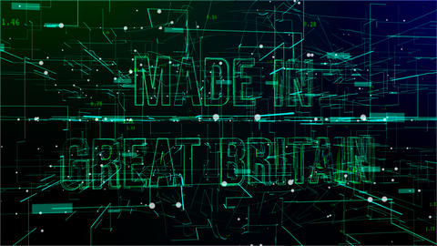 Moving digital space with 'Made in Great Britain' text Live Action