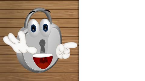 Funny padlock cartoon security illustration lock comic Animation