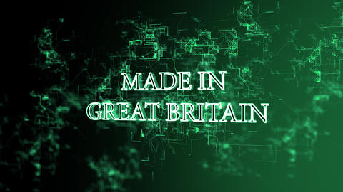 "Rotating digital network with ""Made in Great Britain"" text Live Action"