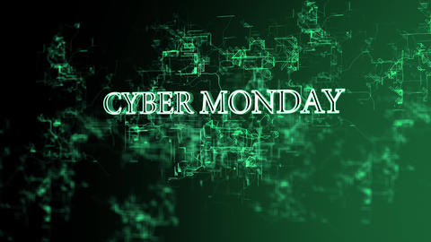 Rotating electronic network with 'Cyber Monday' text Footage