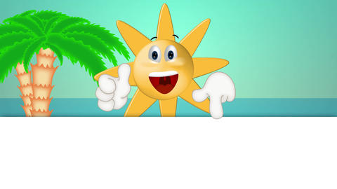 Funny Sun Cartoon Illustration Summer Holiday Comic Animation