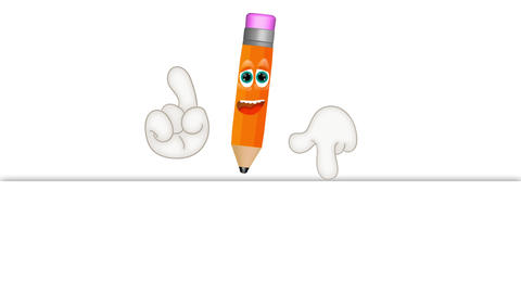 Funny pen pencil cartoon letter write sign memo note Animation