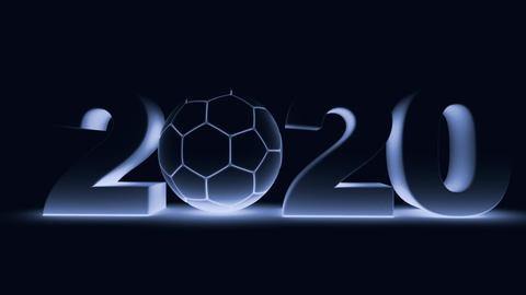 Soccer ball and 2020 in blue tinting GIF