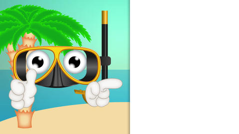 Funny diving mask cartoon advertising space placeholder Animation