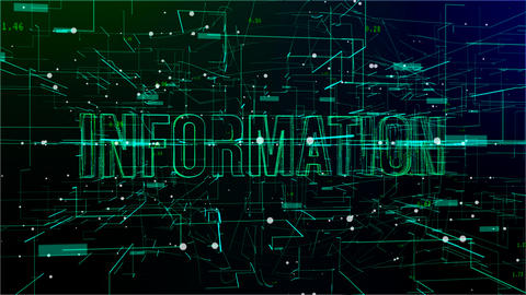 Animation of rotating digital space with 'Information' text Live Action