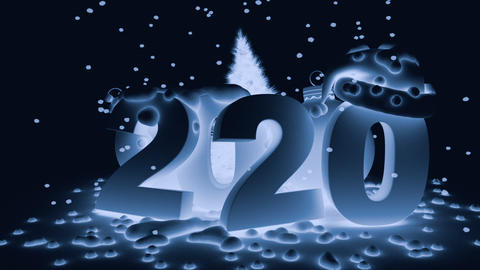 2020 and ball Christmas tree in blue tinting Animation