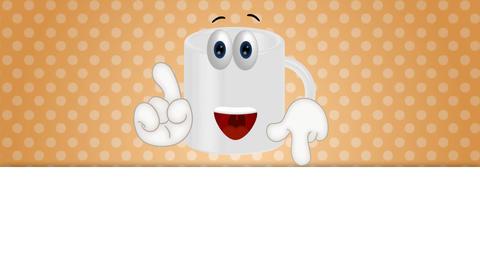 Funny coffee tea cup cartoon illustration comic Animation