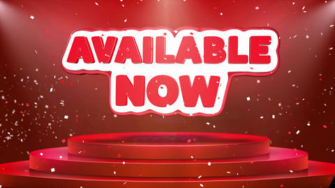 Available Now Text Animation Stage Podium Confetti Loop Animation Footage