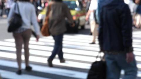 Congestion to Japan in Tokyo's Shibuya crossing (pedestrian-feet) Footage