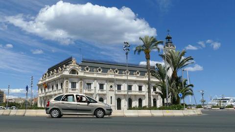 Clock Building in the Marina Real Juan Carlos Footage