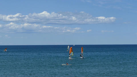 Windsurfing on the Mediterranean sea Live Action