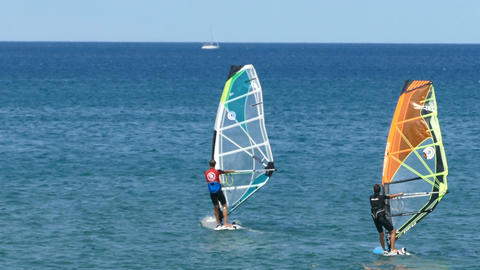 Windsurfing on the Mediterranean sea Footage
