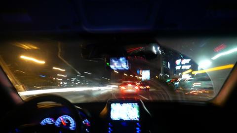 Night driving Timelapse 2, Inside windshield, Busan in Korea Footage