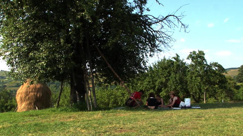 Young people sit under the trees and clean vegetables for lunch 01 Footage