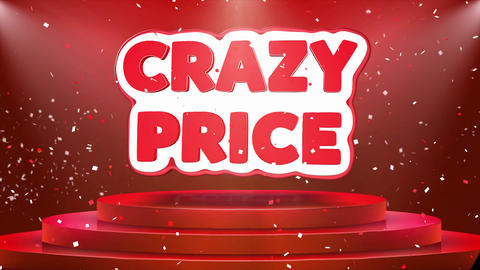 Crazy Price Text Animation Stage Podium Confetti Loop Animation Footage