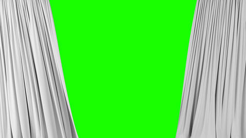 Beautiful White Waving Curtains Opening and Closing on Green Screen. Abstract 3d Footage