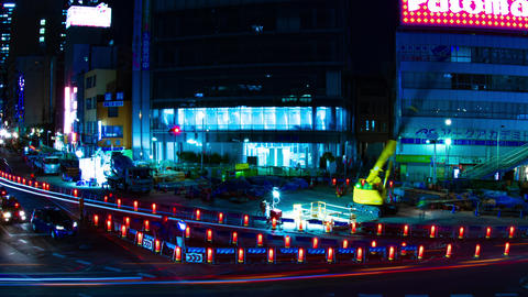 Night time lapse urban street at the business town in Tokyo Footage