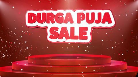 Durga Puja Sale Text Animation Stage Podium Confetti Loop Animation Footage