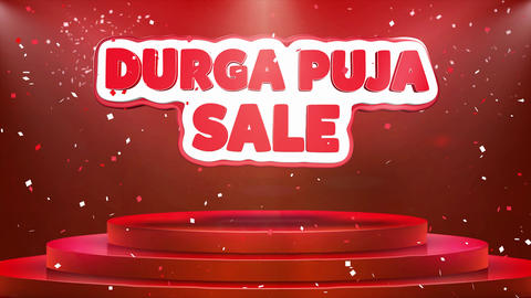 Durga Puja Sale Text Animation Stage Podium Confetti Loop…, Live Action