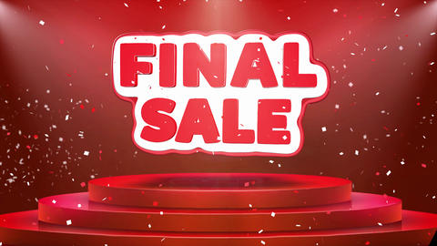 Final Sale Text Animation Stage Podium Confetti Loop Animation Live Action