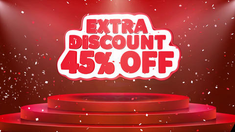 45Off Extra Discount Text Animation Stage Podium Confetti Loop Animation Footage