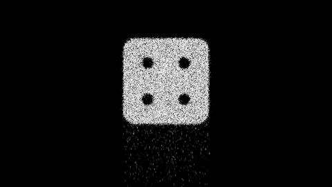 Symbol dice four appears from crumbling sand. Then... Stock Video Footage
