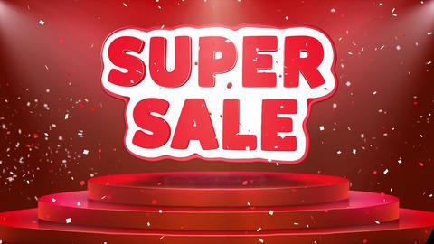 Super Sale Text Animation Stage Podium Confetti Loop Animation Footage