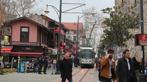 Bursa's popular shopping street; Cumhuriyet Street and tramway. Bursa, Turkey Footage