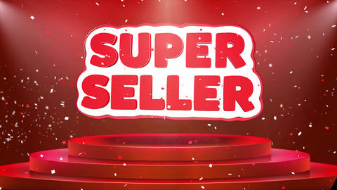 Super Seller Text Animation Stage Podium Confetti Loop Animation Footage