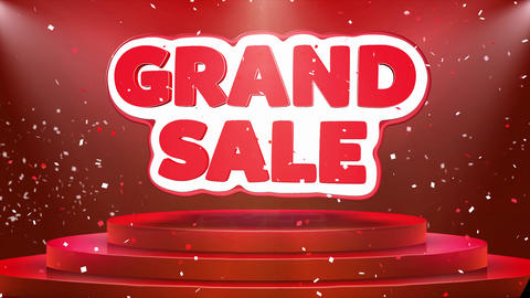Grand Sale Text Animation Stage Podium Confetti Loop Animation Footage