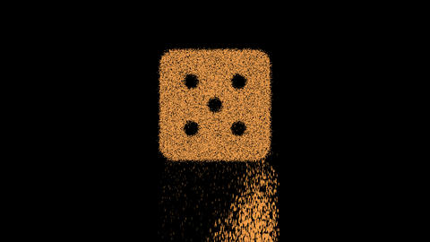 Symbol dice five appears from crumbling sand. Then crumbles down. Alpha channel Premultiplied - Animation