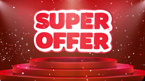 Super Offer Text Animation Stage Podium Confetti Loop Animation Footage