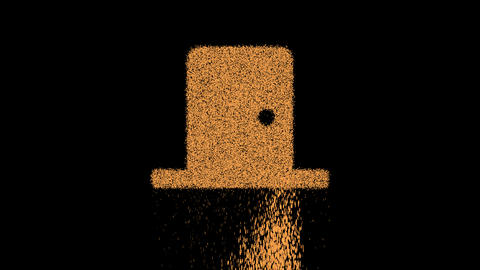 Symbol door closed appears from crumbling sand. Then crumbles down. Alpha channel Premultiplied - Animation