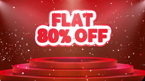 Flat 80 off Text Animation Stage Podium Confetti Loop Animation Footage