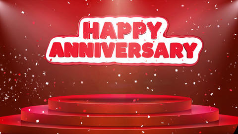Happy Anniversary Text Animation Stage Podium Confetti Loop Animation Footage