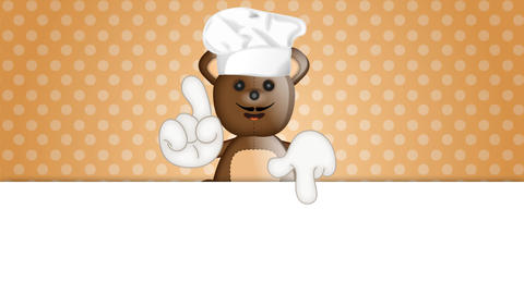 Funny Teddybear cook cooking chef hat cartoon illustration Animation
