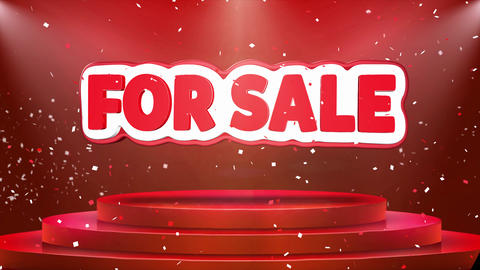 For Sale Text Animation Stage Podium Confetti Loop Animation Footage