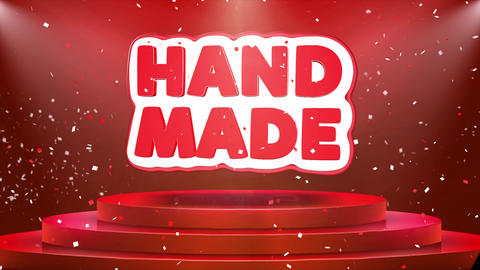 Hand Made Text Animation Stage Podium Confetti Loop Animation Footage