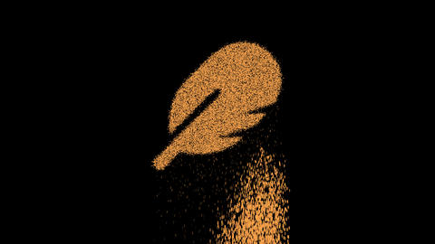 Symbol rounded feather appears from crumbling sand. Then crumbles down. Alpha channel Premultiplied Animation