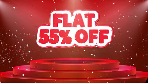 Flat 55 off Text Animation Stage Podium Confetti Loop Animation Footage